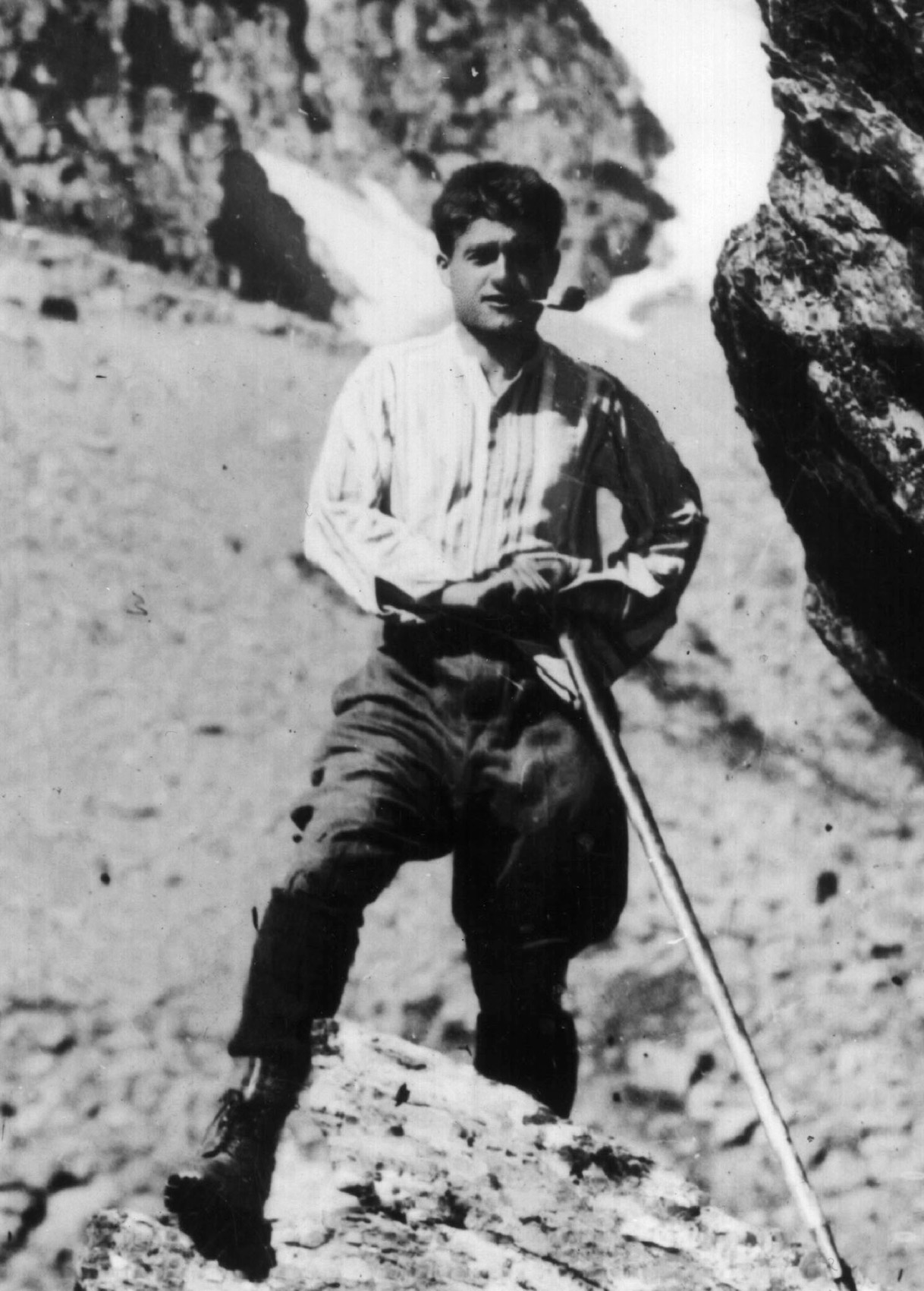 Italian Blessed Pier Giorgio Frassati was a struggling student who excelled in mountain climbing. He had complete faith in God and persevered through college, dedicating himself to helping the poor and supporting church social teaching. He died at age 24 and was beatified by Pope John Paul II in 1990. He is pictured in an undated photo. (CNS file photo) (Aug. 19, 2005) See VATICAN LETTER Aug. 19, 2005.